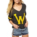 Dark Gray Background Yellow Letter Print V-Neck Sweatshirt