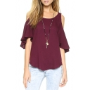Plain Cold Shoulder Ruffled Sleeve Loose Top with Curved Hem