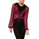 Sheer Mesh Inserted Ruffle Collar Long Sleeve Shirt with Tie Front