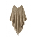 Plain Curve Knitted Shawl with Fringe Hem