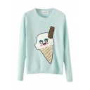 Cartoon Ice Cream Applique Long Sleeve Sweater with Round Neckline