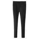 Black 5 Buttons Pockets Internally Upset Leggings Pants