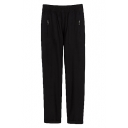 Plain Zip Pocket Elastic Waist Laid Back Pants