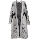 Gray Character Print Open Front Laid Back Cardigan