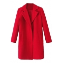 Plain Notched Lapel Single-Breasted Woolen Tunic Coat With Double Pocket Front