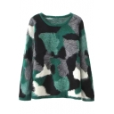 Camouflage Color Block Tie Dye Long Sleeve Round Neck Mohair Sweater