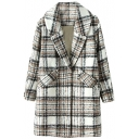 Fashionable Plaid Pattern Hidden Button Wool Coat with Oversized Lapel