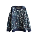 Casual Camouflage Jacquard Round Neck Thick Sweater