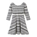 3/4 Sleeve Geo-Tribal Style Pattern Elastic Round Neck Backless Dress