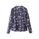 Black Background Carrier Pigeon Print Stand Collar Shirt