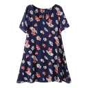Round Neck Short Sleeve Floral Print Swing Dress