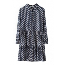 Lapel Sun Flower Print Long Sleeve Pleated Dress with Button Details