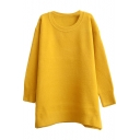 Plain Soft Round Neck Loose Long Sleeve Tunic Sweater with Round Neck