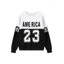 Mono Color Block Letter&Number Print Round Neck Long Sleeve Sweatshirt