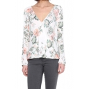 Sweet Floral Print V-Neck Long Sleeve Top with Dip Hem