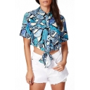 Tropical Print Point Short Sleeve Collar Crop Shirt with Knotted Front
