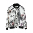 Stripe Floral Print Stand Collar Button Fly Jacket