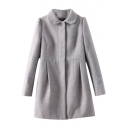 Gray Plain Peter Pan Collar Relaxed Woolen Coat