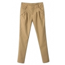 Plain Laid Back Pleated Front Pockets Harem Pants