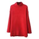 Plain High Neck High Low Hem Tunic Sweater with Raglan Sleeve