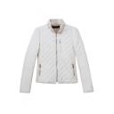 Plain Stand Collar Oblique Zip Fly Long Sleeve Woolen Coat