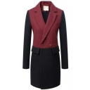 Color Block Fitted Lapel Collar Double-Breast Pockets Long Ling Coat