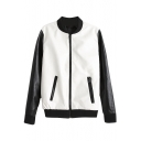 White and Black Contrast Stand Up Collar Zippered PU Baseball Jacket