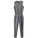 Plain Sleeveless Elastic Drawstring Jumpsuit with Zipper Back