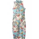 Sleeveless Stand Collar Sheath Floral Print Dress