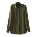 Plain Panel Hem Style Long Sleeve Chiffon Shirt