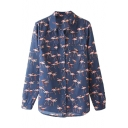 Dark Blue Background Flamingo Print Lapel Shirt