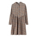 Stand Collar Daisy Print Long Sleeve Pleated Dress