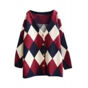 V-Neck Button Fly Classic Argyle Pattern Oversized Cardigan