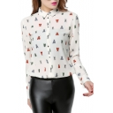 Colorful Insect Print White Background Chiffon Shirt