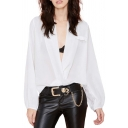 White Plain Plunge Neck Blouson Sleeves Curved Hem Chiffon Blouse
