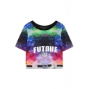 Weave Style Letter Print Cropped Short Sleeve T-shirt