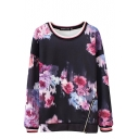 Purple Floral Print Round Neck Long Sleeve Zipper One Side Sweatshirt
