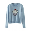Lovely Ice Cream Pattern Round Neck Sweater