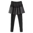 Elastic Waist Cotton Full Length Leggings with Diamond Pattern Skirt Cover