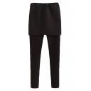 Plain Elastane Full Length Leggings with Chevron Pattern Skirt Cover