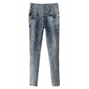 High Waist Mottled Denim Stretch Pencil Jeans with Side Zipper
