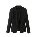 Black Slim Open-front Blazer with Horizontal Zipper Embellished