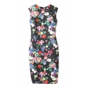 Black Floral Print Skinny Sleeveless Round Neck Pencil Dress