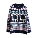 Jacquard Deer Pattern Round Neck Long Sleeve Sweater