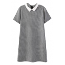 Gray Houndstooth Print Lapel Collar Short Sleeve Dress