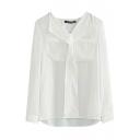 V-Neck Plain Chiffon Long Sleeve Top with Double Pocket