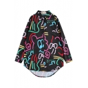 Black Background Colorful Cartoon Graffiti Print Long Sleeve Longline Loose Shirt