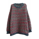 Rural Color Mix Style Round Neck Long Sleeve Loose Sweater