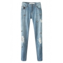 Beaded Floral Distressed Light Wash Pencil Jeans