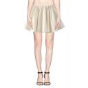 Plain Elastic Waist Mini Full Skirt with Shorts Lining
